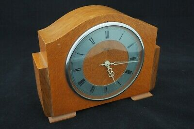 Vintage Retro Smiths Centric wooden mantel clock with roman numerals