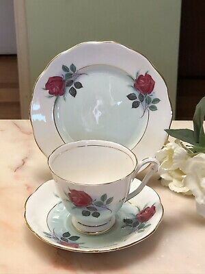 ANTIQUE VINTAGE TRIO CUP SAUCER PLATE AFTERNOON TEA ~* QUEEN ANNE Pretty Roses