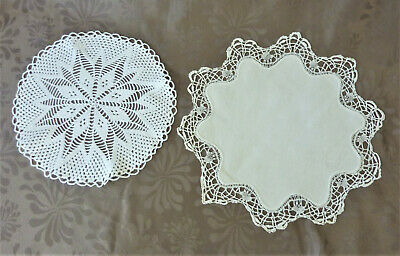 Lot de 2 napperons ronds anciens crochet faits main - French VINTAGE