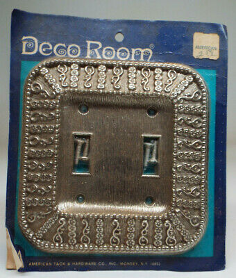 Vintage American Tack & Hardware Double Light Switch Cover - Antique Silver-MINT