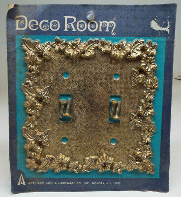 Vintage American Tack & Hardware Double Light Switch Cover - Antique Brass-MINT