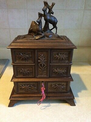 Antique Black Forest Carved Jewelry Chest Fully Lined  3-Tier Box Carved Deer
