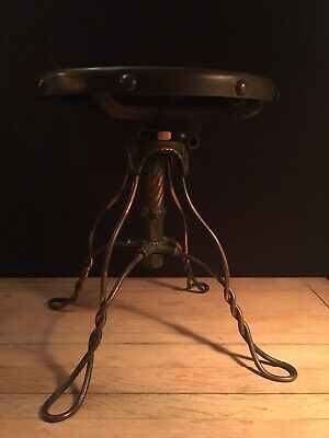 Vintage Antique Twisted Rod Stool By A H Andrews Chicago c1900