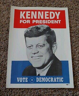 John F Kennedy 1960 Presidential Election Vote Democratic Campaign Window Poster