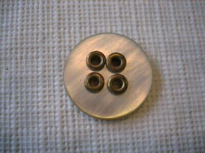 "Vintage Small 23/32nds "" MOP Mother Of Pearl Shell Button Brass Holes - PD117"