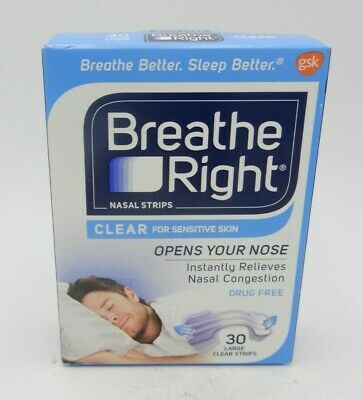 (3PK) Breathe Right Nasal Strips Clear Large 30ct 757145002467WS