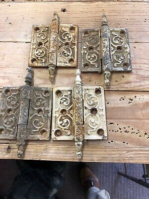 "4 VINTAGE Cast Iron Ornate Victorian Eastlake Door Hinges 3"" X 3"" Steeple Pin"