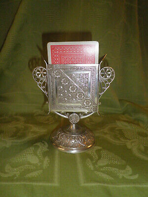 James Tufts playing card cards holder Victorian silver plate stand