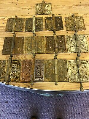 "Nine VINTAGE Cast Iron Ornate Victorian Eastlake Door Hinges 4"" X 4"" (13 Hinges)"
