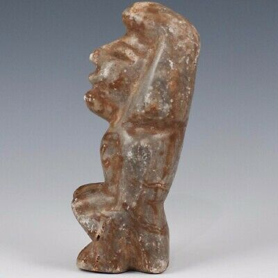 "CARVED Pre-Columbian Olmec Sitting Human Effigy Reproduction LARGE 7"" Tall"