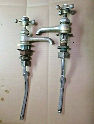 Antique Set Pair Standard Classic Hot Cold Bathroom Lavatory Sink Faucet Spigots