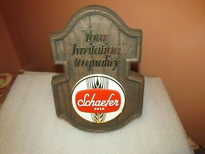 """Schaefer Beer sign/plaque """"Your invitation to quality"""" faux wood"""