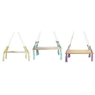 Nordic Style Wooden Bead Tassels Storage Rack Wall Rope Hanging Shelf for DY3V5