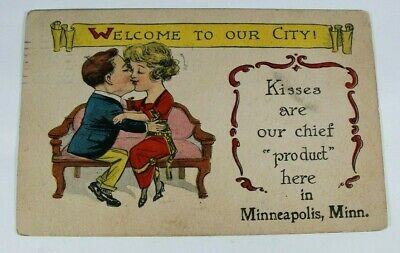 Vintage Minneapolis Greeting Card 1914 Rare Posted Antique Postcard Collectible