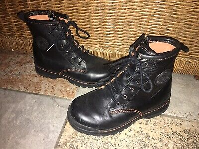 GEOX Girls Black Leather Ankle High Side Zip Lace-Up Hiking Boots Shoes - Size 1
