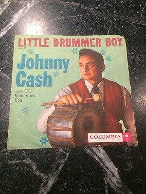 "JOHNNY CASH Little Drummer Boy Remember You 7"" Sleeve Only 45 Columbia Rare"