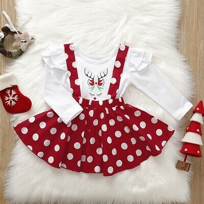 US Toddler Kid Baby Girl T-Shirt Top Bib Skirts Dress Christmas Outfit Clothes