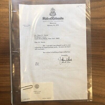 1970's COLORADO Signed By Governor Love Denver CO Letterhead + BUSINESS CARD