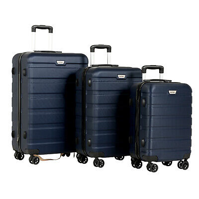"""3PCS 20"""" 24"""" 28""""  Luggage Set Travel Bag Trolley Spinner Carry On Suitcase Blue"""