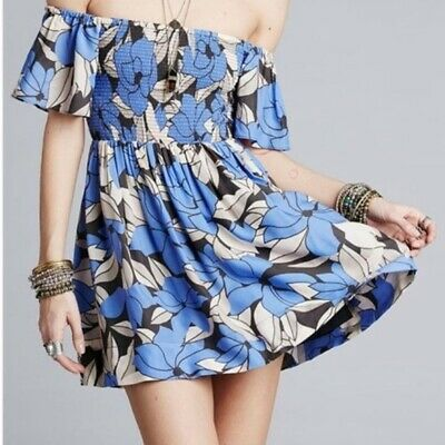 Free  People Louise Off Shoulder Floral Blue Mini Dress Size Large Ruched Casual