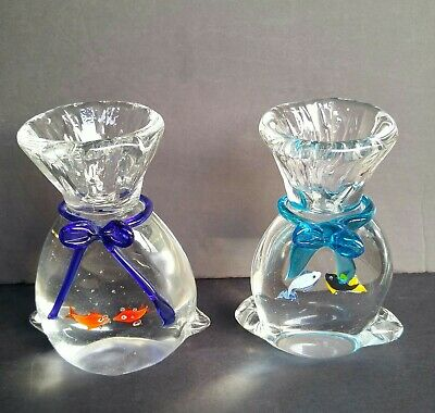 "7"" Art Glass Goldfish In A Bag Paperweight Sculpture -Hand Blown Unique Murano?"