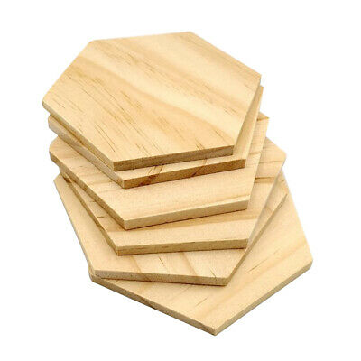 25 Pcs/set Coasters Wooden Slices Polished Party DIY Hexagon Blank Name Tags