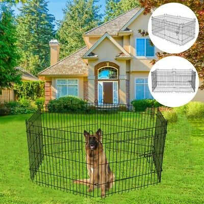 Foldable Metal Fence Pet Dog Cat Folding Exercise Yard Play Pen Kennel Cage Door