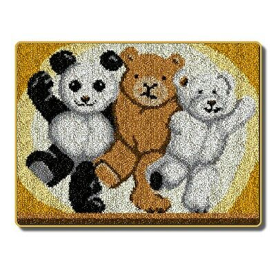 "Latch Hook Kit""Three Teddies"""" 90x66cm"