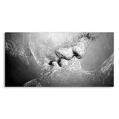 Black & White Love Kiss Abstract Canvas Painting Wall Art Picture Print Dec R7C7