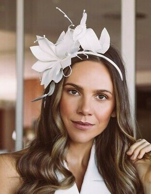 Morgan And Taylor White Floral Leaves Crown Fascinator Races Melbourne Cup