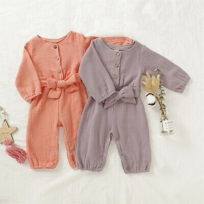 Newborn Infant Baby Girl Soft Cotton Linen Romper Jumpsuit Outfit Clothes Set