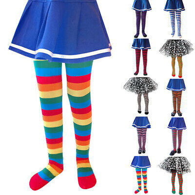 Kids Girls Halloween Striped Stockings Tights Winter Long Socks Party Pantyhose