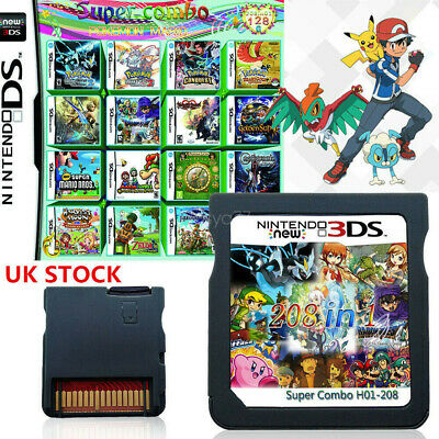 UK 208IN1 Game Multi Cartridge for NDS NDSL 2DS 3DS 3DSLL/XL NDSI Pokemon Mario