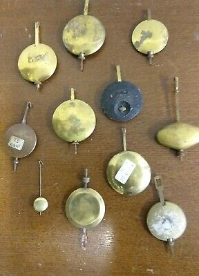11 ORIGINAL ANTIQUE  CLOCK PENDULUMS lot 2