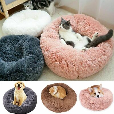 Cat Dog Warm Plush Bed Round Calming Soft Fur Donut Cuddler Pet Sleeping Bed New