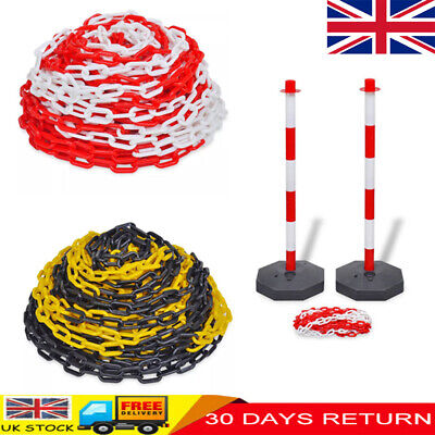 Plastic Chain + Post Set Traffic Guard Security Safety Warning Sign Barrier
