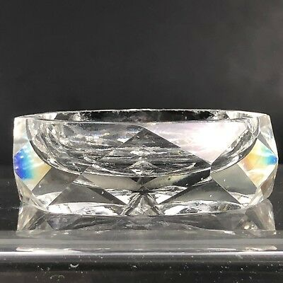 VTG Antique Open Salt Cellar Clear Crystal Glass Cut Open Dish Faceted Diamond