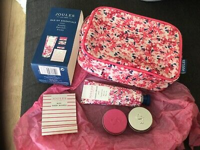 Joules Bag of Essentials cosmetic bag hand cream lip balm x 2 emery boards BN