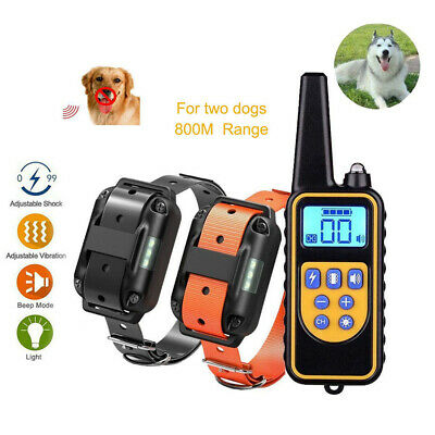 Rechargeable ECollar LCD Remote Control Electric Training Shock Pet for 2 Dogs