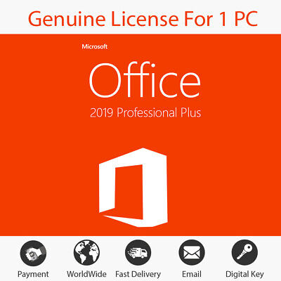 Microsoft Office 2019 Professional Plus Lifetime License 32/64Bit Insant Deliver