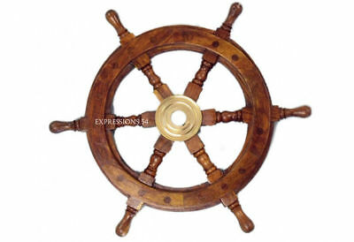 "Wooden nautical Ships wheel Boat's Steering Wheel Helm 24"" Marine Decoration"