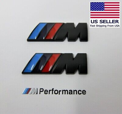2 x M Badge Metal Emblem Logo small, Matte Black M-Power Fits BMW M2 M3 M4 M5 M6