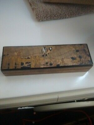 Vintage wooden hinged lid pencil case with 2 owl decoration
