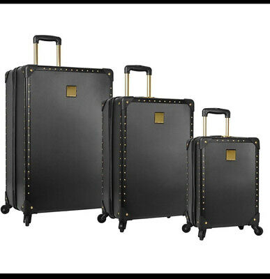 Vince Camuto Black Jania 3Pc Luggage Set Spinner Wheels Gold Studs Msrp 1080