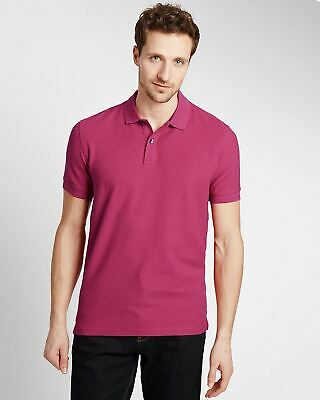 Mens Marks & Spencer Polo Shirt Ex Chain Store M&S Pink Turquoise Wine Orange