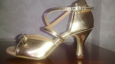 used Gold Sandal Ballroom  Shoe 3.5