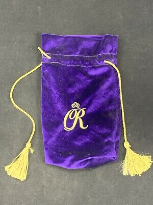 "CROWN ROYAL Purple Velvet Bag With Gold ""CR"" Drawstring And Tassels"