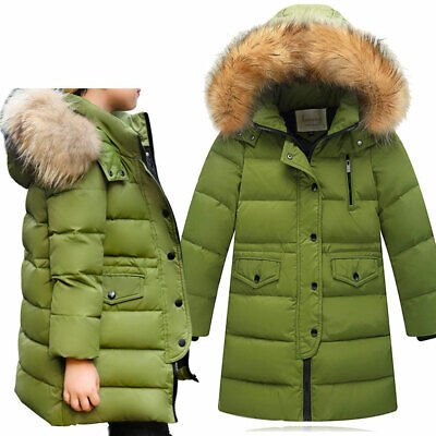 Girls Winter Down Jacket Thick Hooded Child Outwear Long Coat Fur Collar Padded