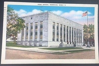 Vintage Postcard Post Office Meridian Mississippi Postmark 1940 C23