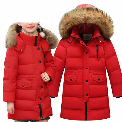 Girls Winter Down Jacket Thick Hooded Fur Collar Children Long Outwear Coat Red